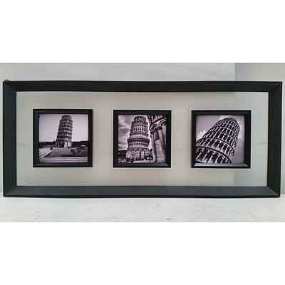 Mounted Collage of Prints of The Leaning Tower of Pisa