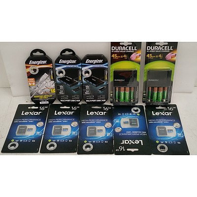 Duracell Battery Chargers, Energizer USB Cables, Lexar 16GB MicroSDHC Cards - Lot of 10 - New