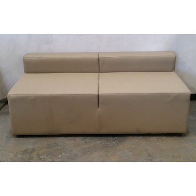 Small Tan Leather Sofa