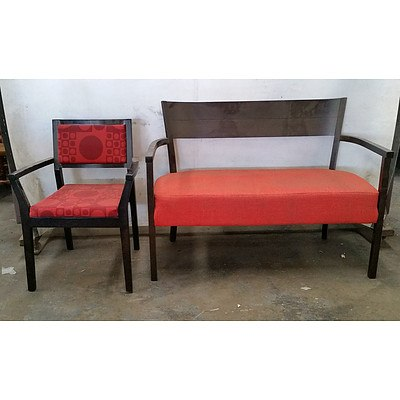 Group of Red Upholstered Armchairs