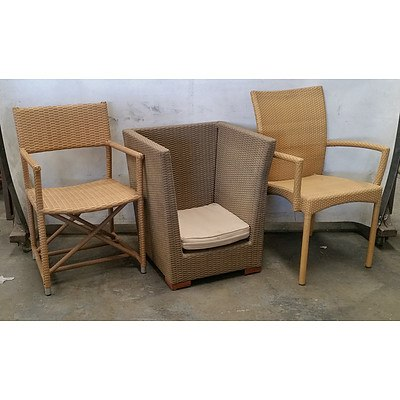 Three Wicker Outdoor Chairs Including Rauch and Satara