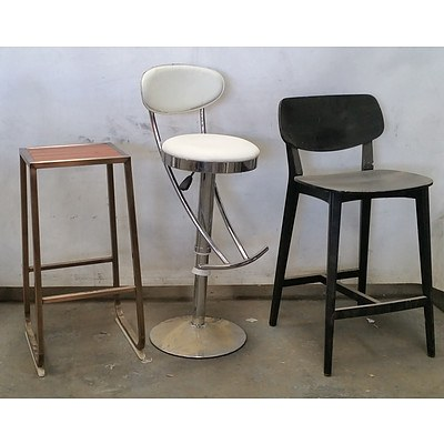 Group of Nine Various Bar Stools and Chairs
