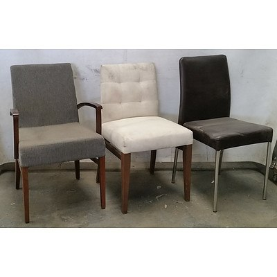 Group of Various Cushioned Dining Chairs