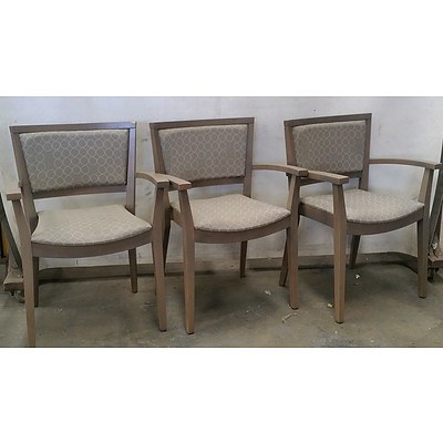 Three Dining Chairs With Circular Design Upholstery
