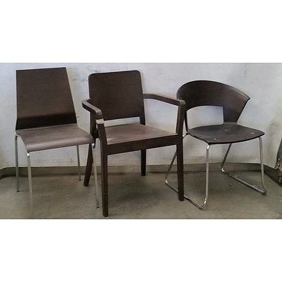 Group of Six Dark Wooden Dining Chairs
