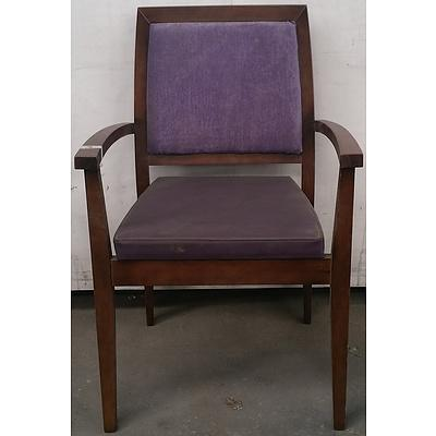 Timber Chair With Purple Fabric - Lot Of 2