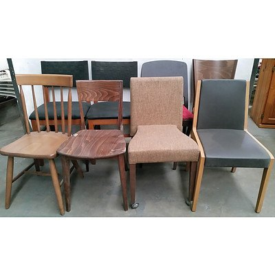 Contemporary Stained Hardwood Occasional Chairs - Lot of Eight