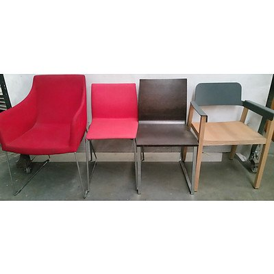Contemporary Stained Hardwood Occasional Chairs - Lot of Four