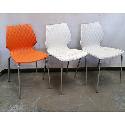Eleven Diamond Upholstered Style Plastic Chairs