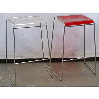 Two Bar Stools With Clear and Coloured Plastic Seats