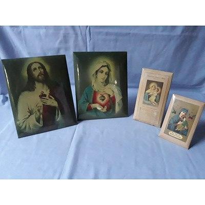 4 Vintage Glazed Enamel Religious Icons
