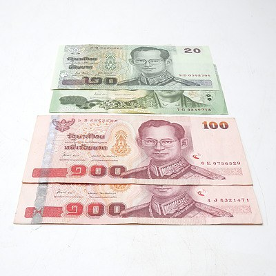 Four Thia Banknotes, Including 100 and 20 Baht