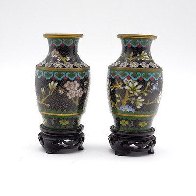 Pair of Chinese Cloisonne Vases with Stands