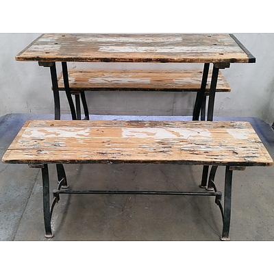 Rustic Cafe Table and Benches - Lot of Two