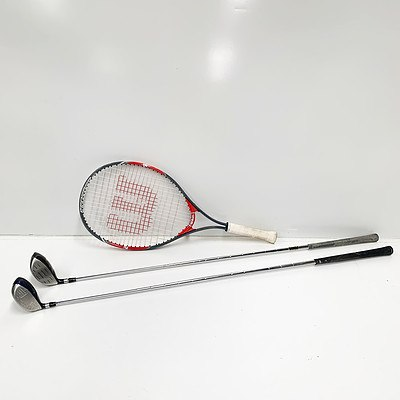 A Pair of Gold Clubs and Wilson Tennis Racket
