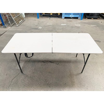 Three 1.8m Fold-up Plastic Trestle Tables