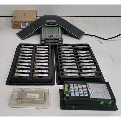 Bulk Lot of Assorted IT and Teleconferencing Equipment - Networking Modules, Access Points & Office Phones