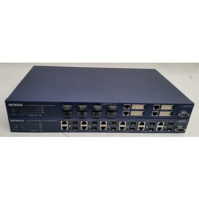 Netgear GSM712F & GSM7212 Managed Gigabit Switches - Lot of Two