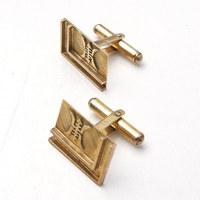14ct Yellow Gold Cufflinks with Chinese Symbol