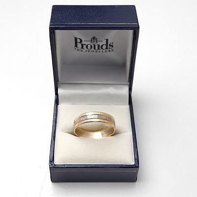 18ct Yellow, White and Rose Gold Band