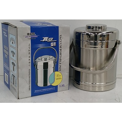 1.8 Litre Stainless Steel Vacuum Heat Insulated Portable Pots - Lot of 24 - Brand New