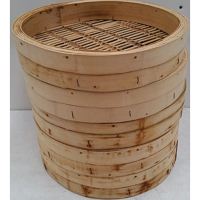 Commercial Bamboo Steamer Baskets - Lot of Five