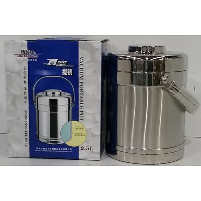 2.5 Litre Stainless Steel Vacuum Heat Insulated Portable Pots - Lot of 10 - Brand New