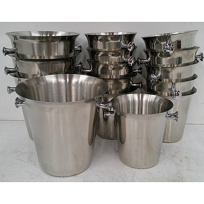 Stainless Steel Champagne and Wine Buckets - Lot of 15
