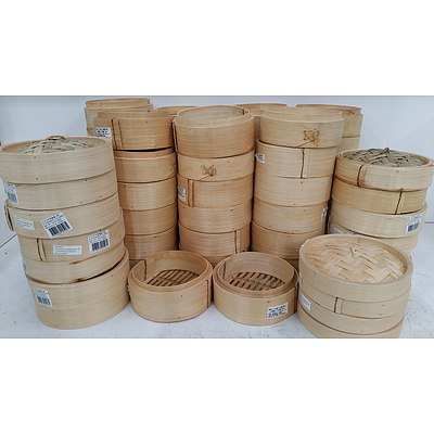 Bamboo Steamer Baskets and Lids - Lot of 63 - New