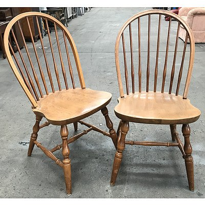 Set of Six Windsor Style Beech Dining Chairs