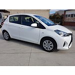 11/2015 Toyota Yaris Ascent NCP130R MY15 5d Hatchback White 1.3L