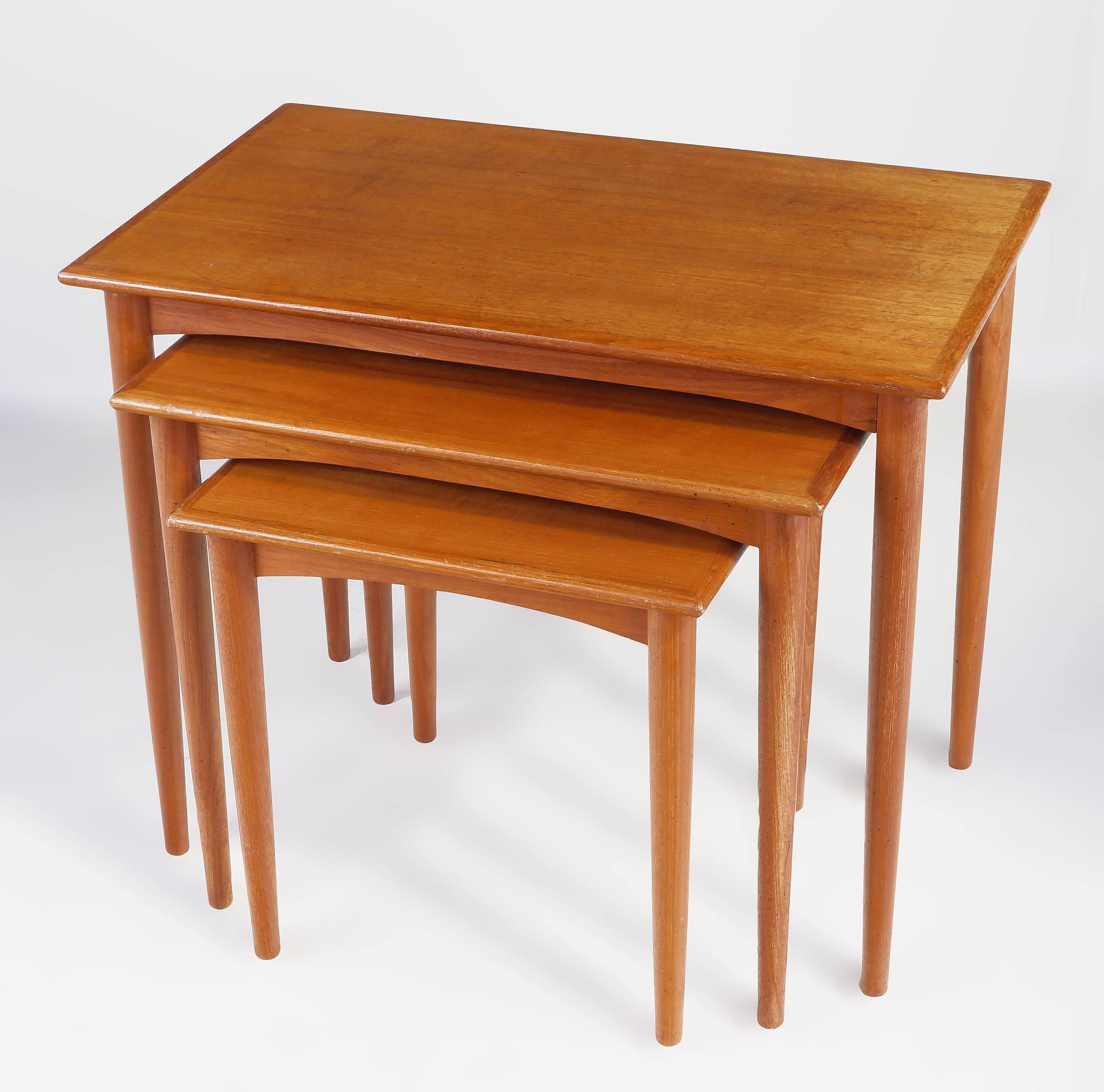 'Parker Teak Nesting Tables Circa 1960s'