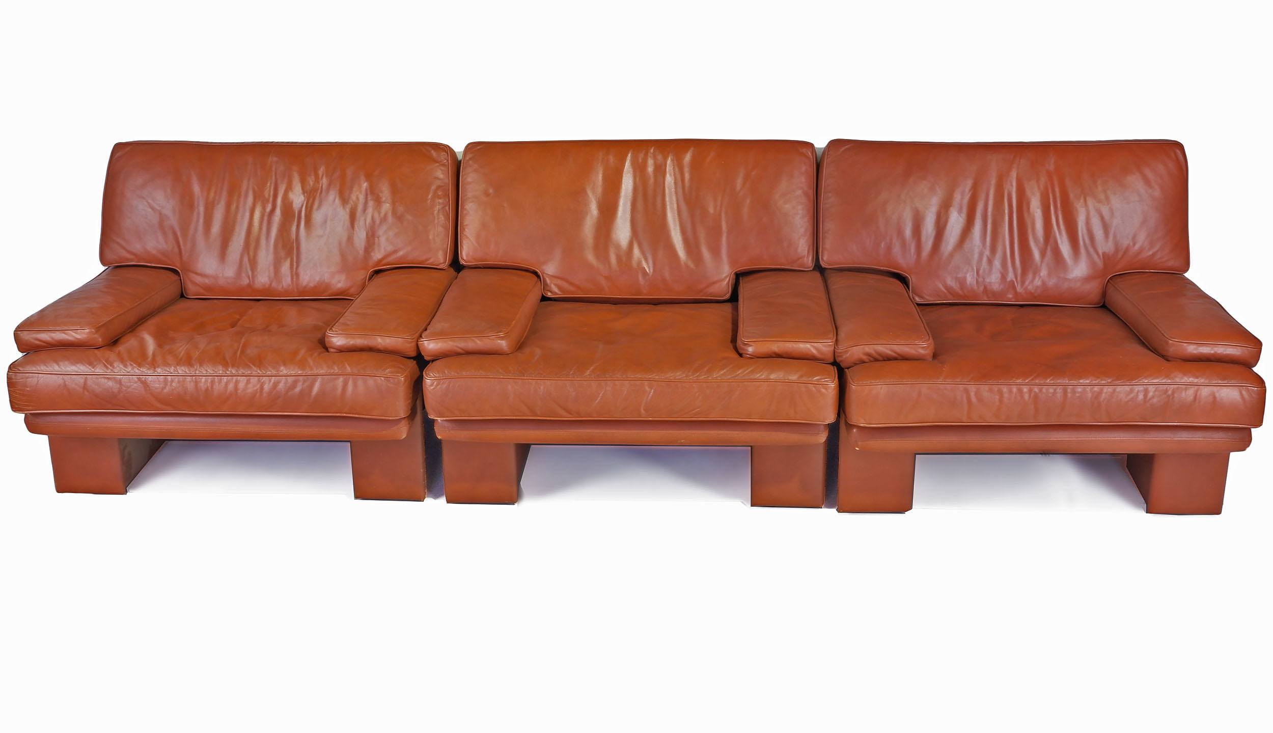 'Three Piece Tan Leather Commack Lounge Suite in the Style of Mario Bellini'