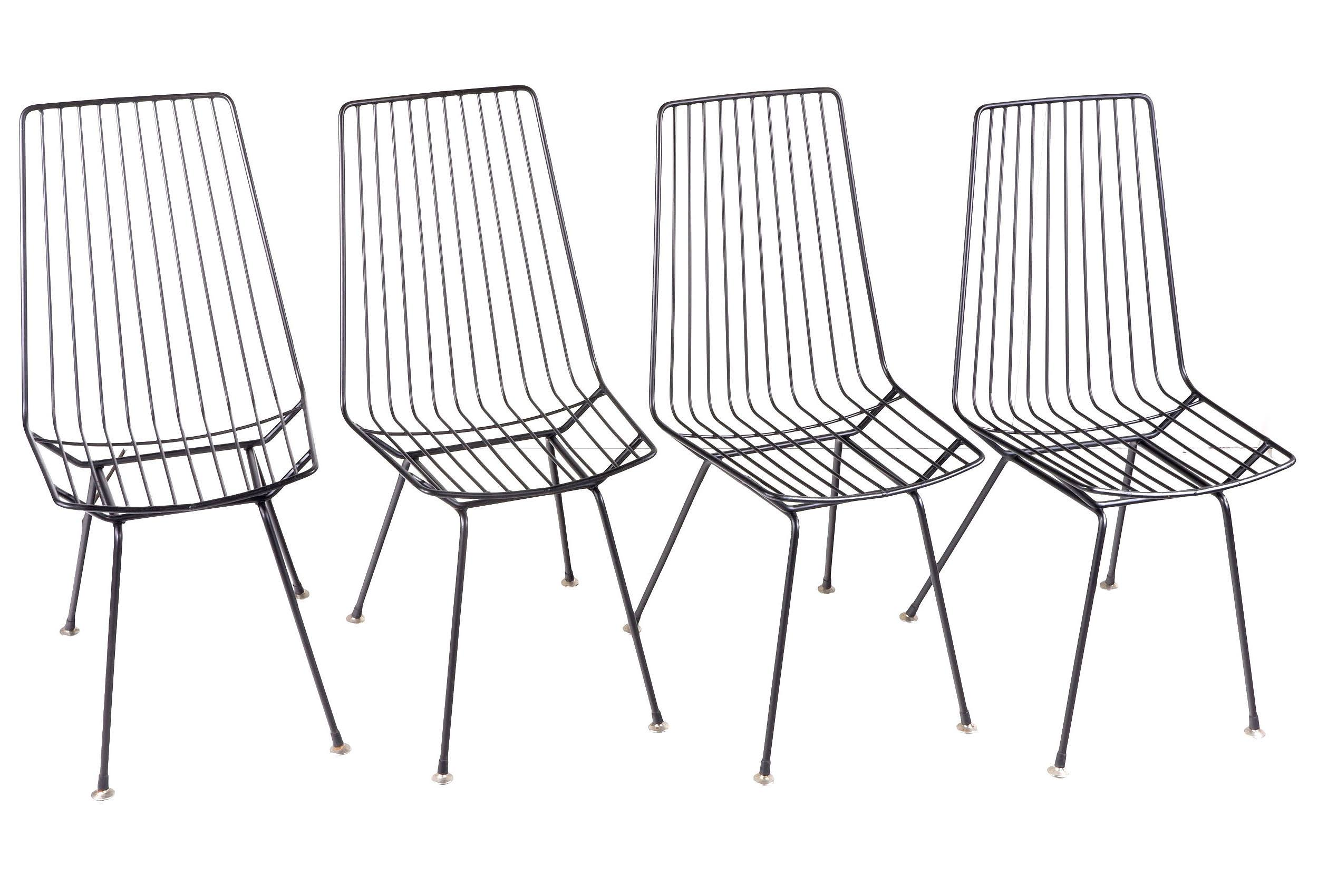'Set of Eight Steel Wire Chairs Including a Pair of Wire Stools, in the Style of Clement Meadmore'
