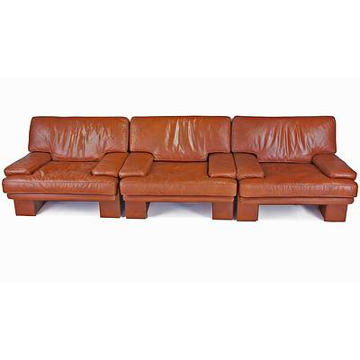 Three Piece Tan Leather Commack Lounge Suite in the Style of Mario Bellini
