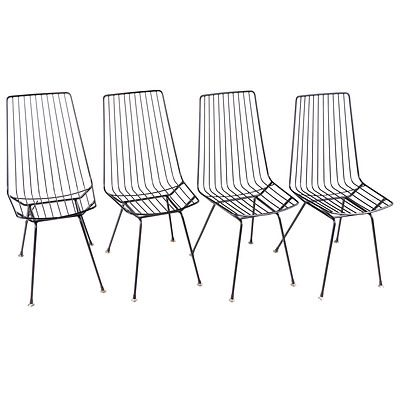 Set of Eight 1960s Steel Wire Chairs Plus a Pair of Wire Stools, in the Style of Clement Meadmore