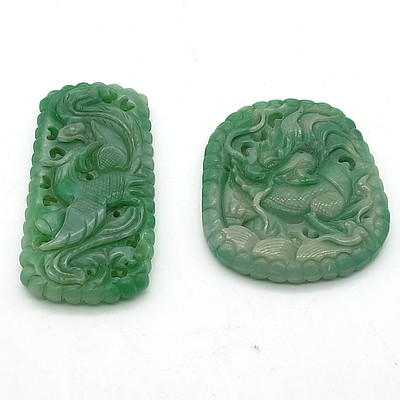 Two Chinese Hardstone Pendants, Possibly Jadeite