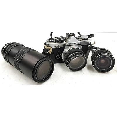 Olympus OM-2 35mm Film Camera with 3 Lenses