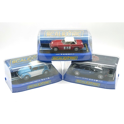 Bugatti Veyron, Volkswagen Beetle and MGB Scalextric Slot Cars