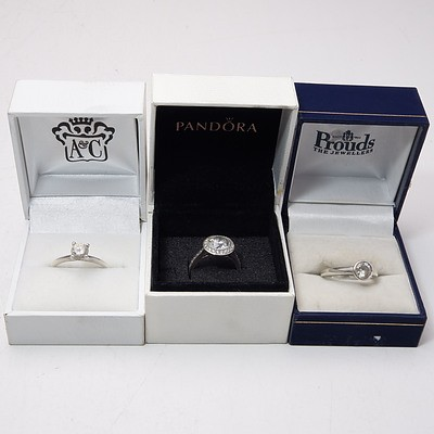 Three Silver and CZ Rings