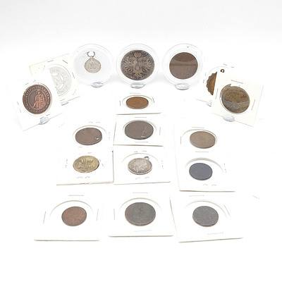 Group of International Coins, Tokens and Medals, Including Australian Defence Medal, Austria 1780 Coin, Italian 1902 Coin Medallion and More