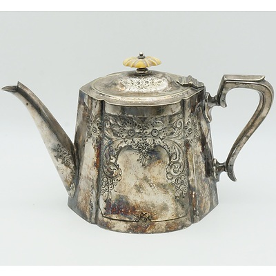 Victorian Ivory Topped Silver Plate Teapot, Joseph Gilbert and Sons, Birmingham Circa 1894
