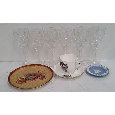 Six Cut Crystal Wine Glasses, Royal Albert Tea Pair, Wedgwood Jasperware and More