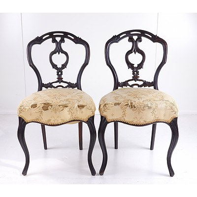 Four Finely Carved Brazilian Rosewood Dining Chairs with Stuffover Seats and Cabriole Forelegs Circa 1850