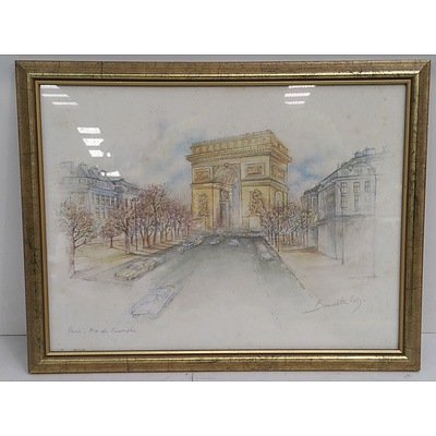 Hand Drawn Framed Pictures Of Paris - Lot Of 4