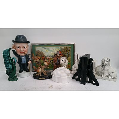 German Mixed Media Hunting Scene Bookend, Pair of Chris Colliott for Kirkerland Bookends, Chruchill Statue and More