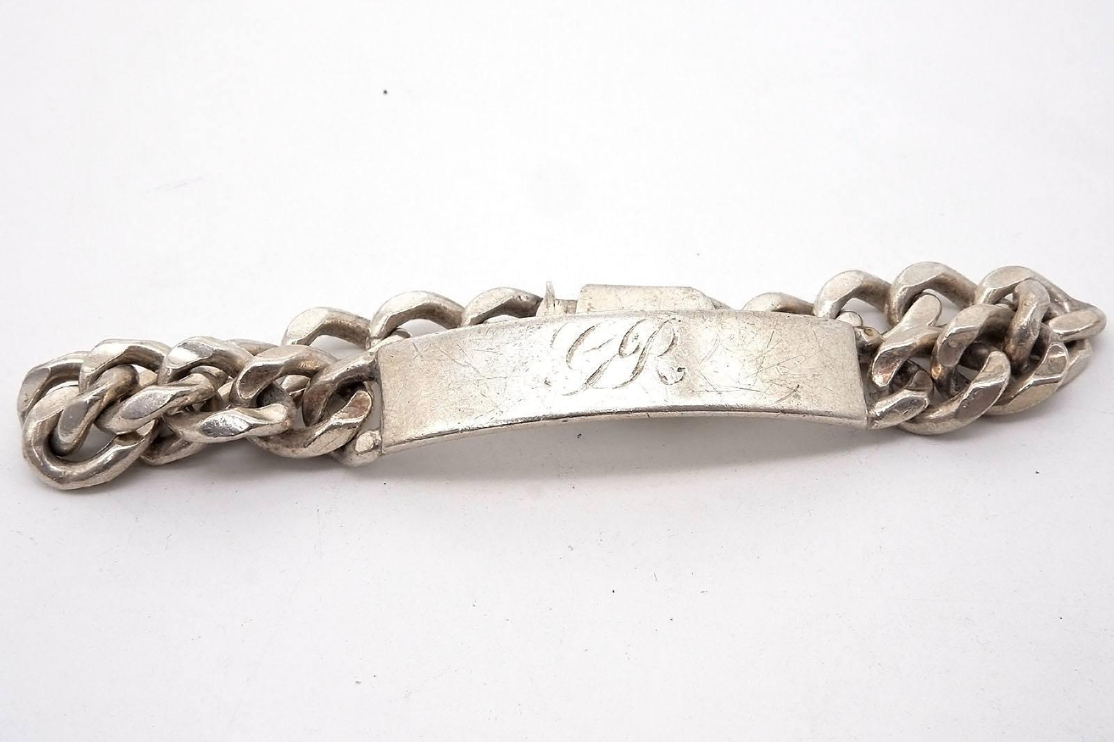 'Gents Sterling Silver Name Plate Bracelet, 53.3g'