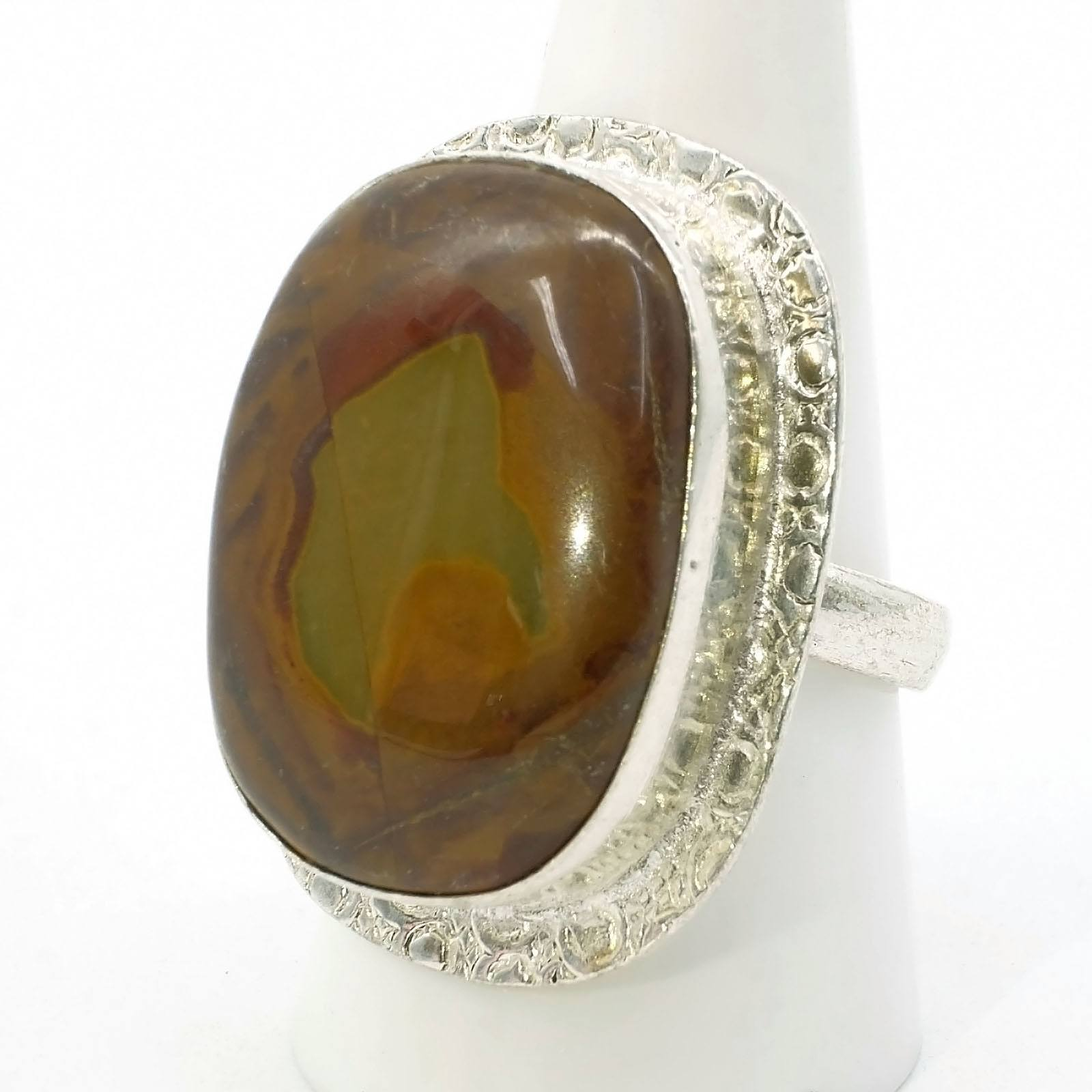 'Sterling Silver Ring with Large Cabochon of Agate'