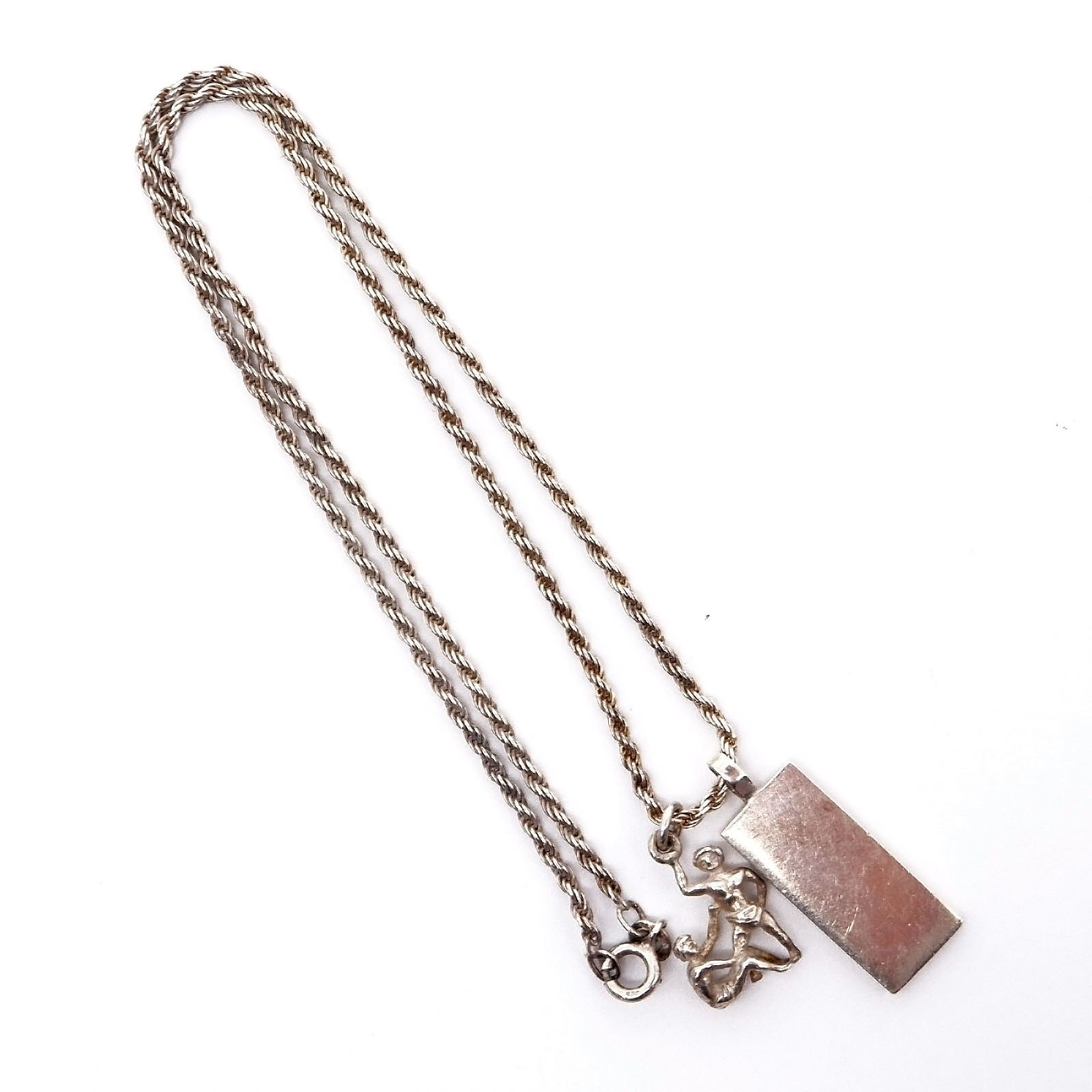 'Sterling Silver Triple Rope Chain With Silver Bar Pendant Stamped 5g and Another Silver Charm'