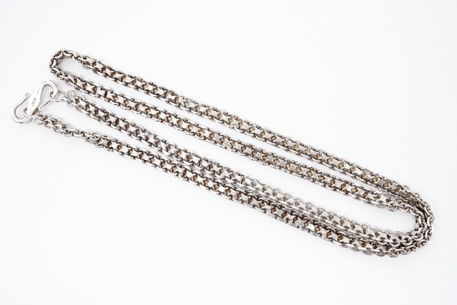 'Heavy Sterling Silver Inserted Curb Link Chain'